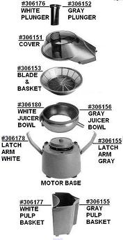L'Equip Mini Pulp Ejector Juicer Parts (Model #110.5)