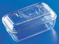 Glass Butter Dish with Cow Pattern - $12.99